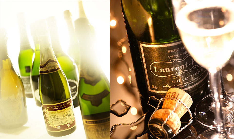 wine and champagne still life photography