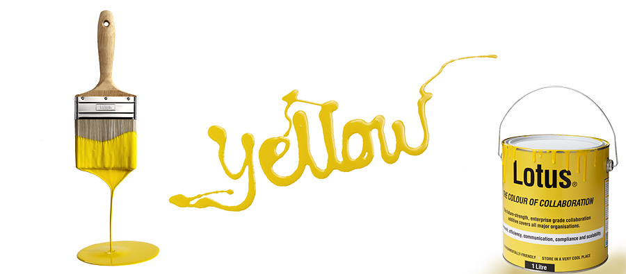 yellow paint and brush still life photography for Lotus IBM adverting