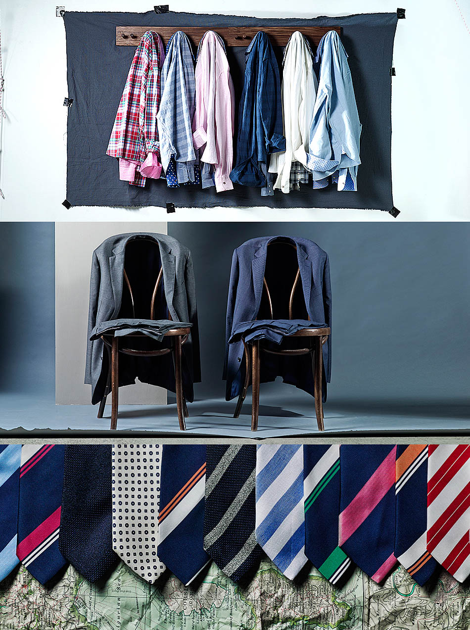 MJ Bale shirts with autumn on white background still life photographer jackets on chairs ties on floor