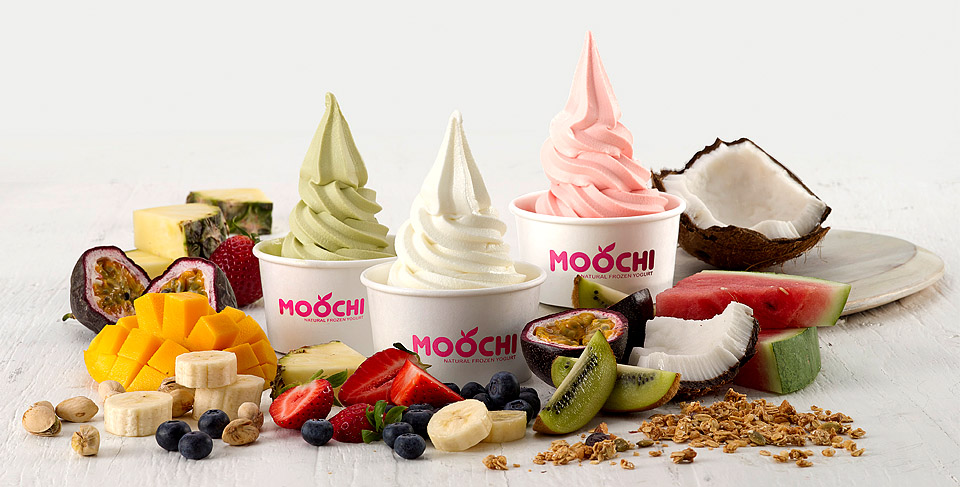 Moochi Frozen Yoghurt advertising and POS