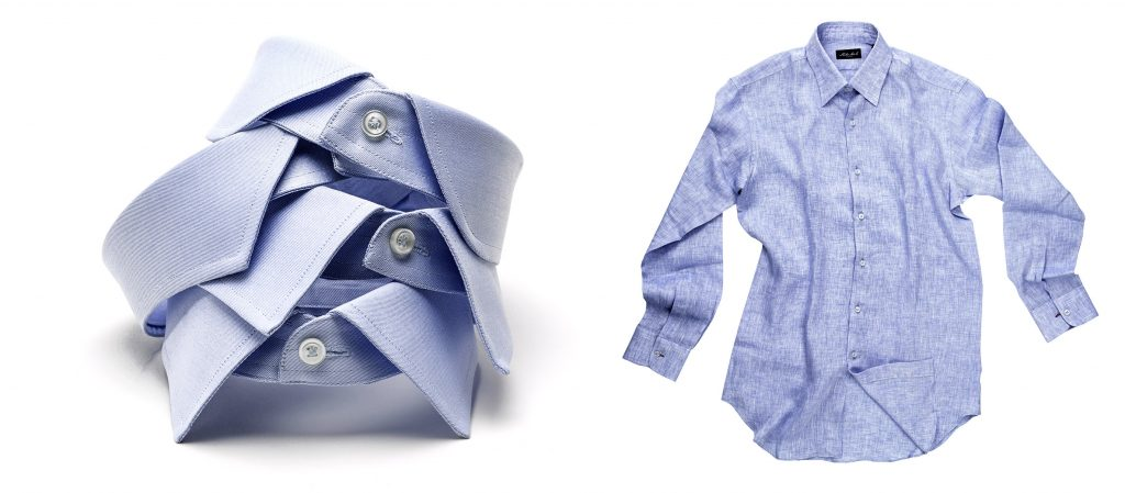 shirts and collar still life on white background