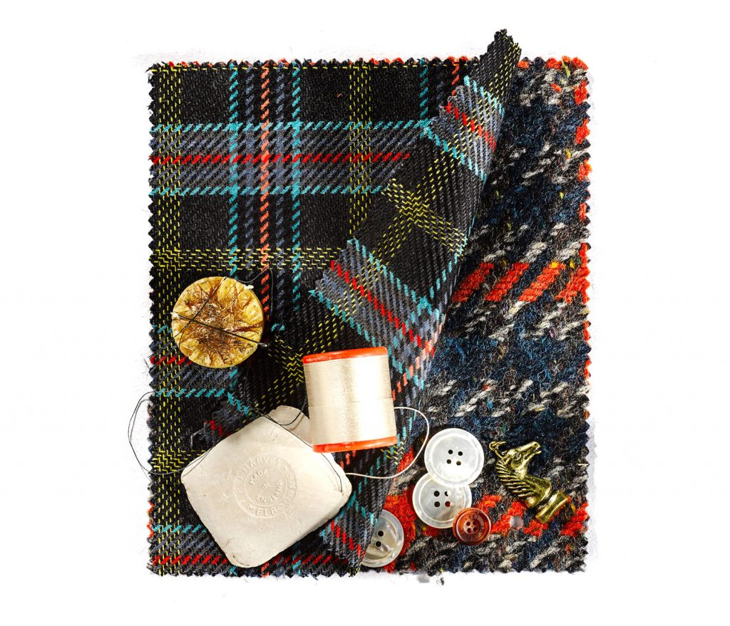 John Cutler Bespoke Fabrics with cotton and button still life photography